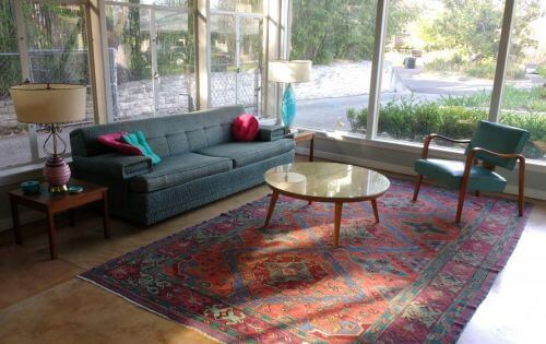 Midcentury living room with oriental rug