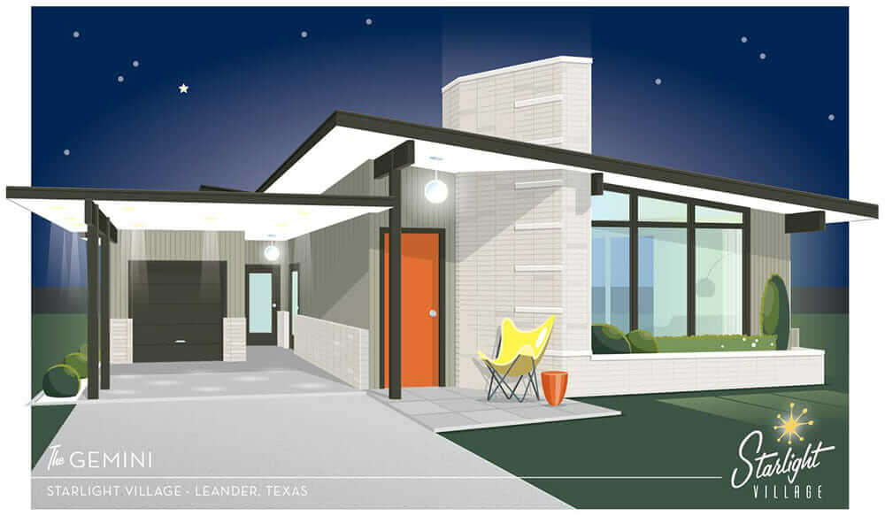 Starlight village a brand new midcentury modern styled for Small mid century modern home plans