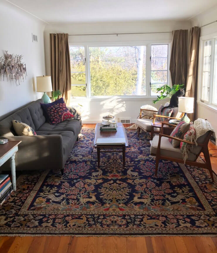 Oriental rugs in midcentury living rooms me likey retro for Oriental furniture living room