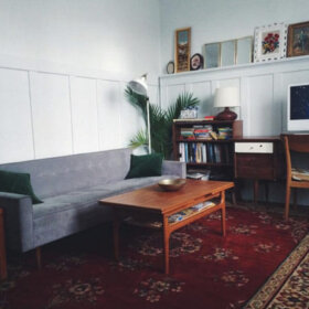 oriental rug in a mid century living room