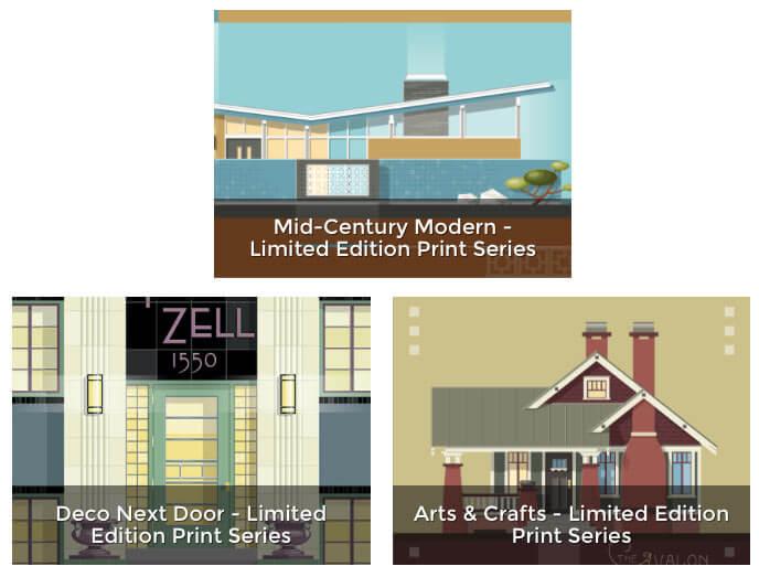 Custom midcentury modern home portrait by Christian ...