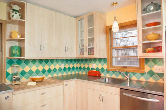 A colorful midcentury kitchen remodel featuring B&W Tile in a ...
