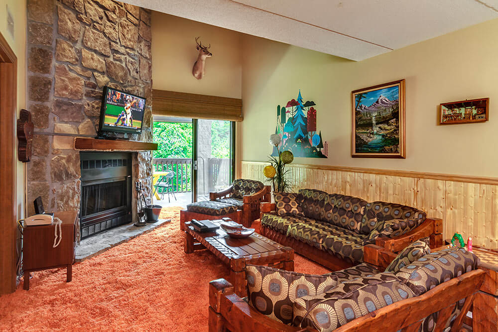 Groovy getaway in gatlinburg tennessee retro renovation - Images of living room decor ...