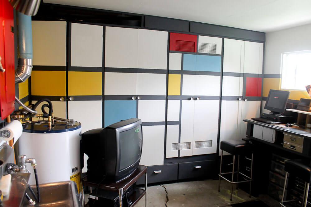 mondrian design storage wall
