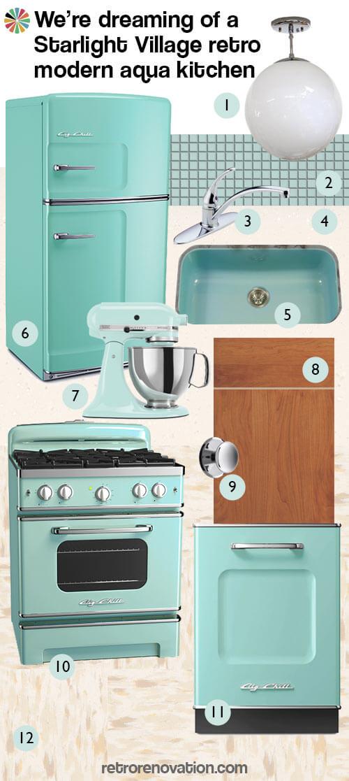 retro modern aqua kitchen