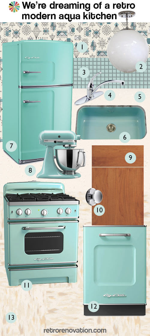 retro modern aqua kitchen