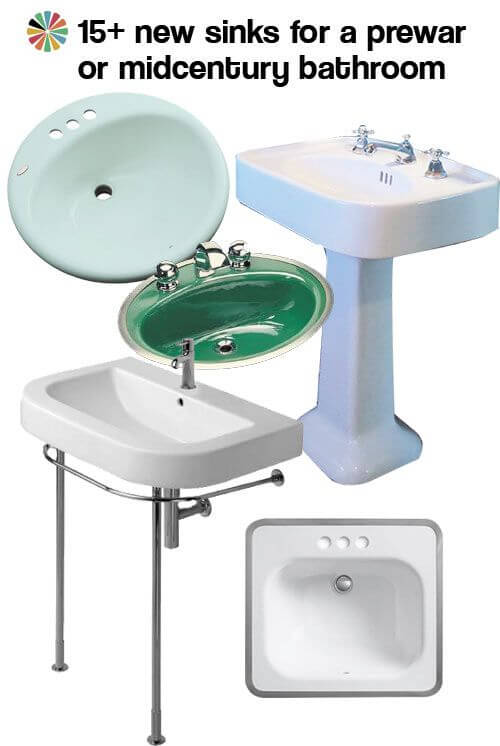 our 15 favorite new sinks for a midcentury or prewar bathroom retro renovation - Midcentury Bathroom 2016