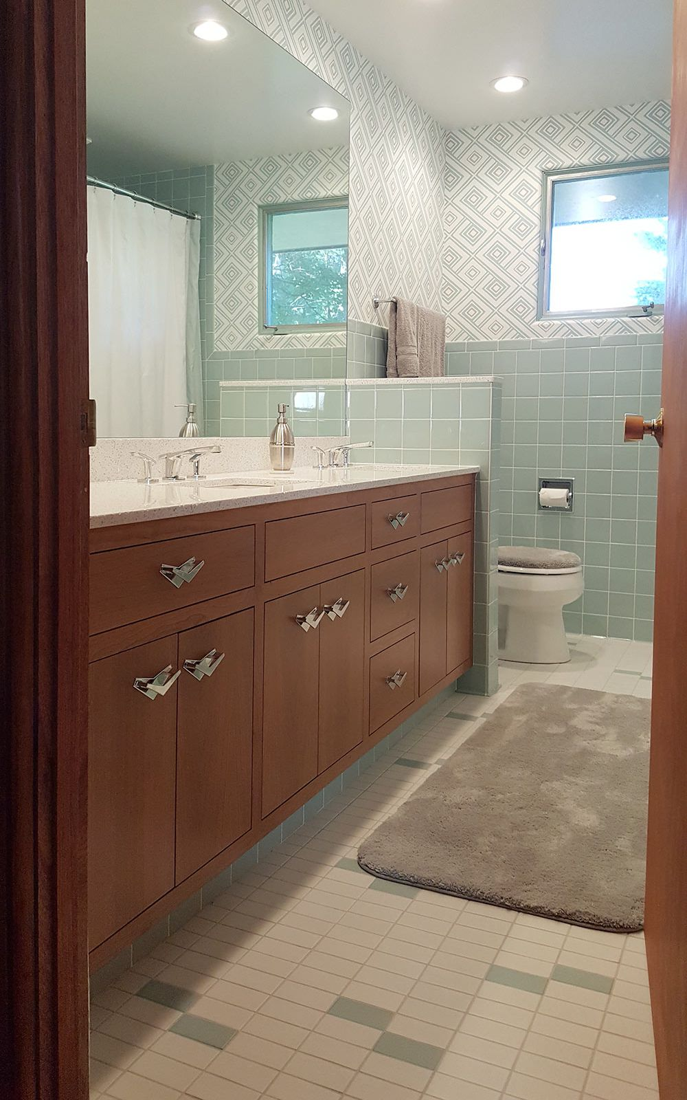 A new blue bathroom for a 1955 house that looks like it\'s always ...