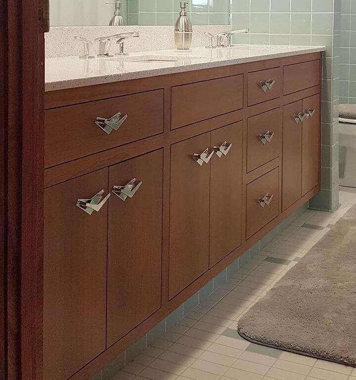 wood vanity for a mid century bathroom