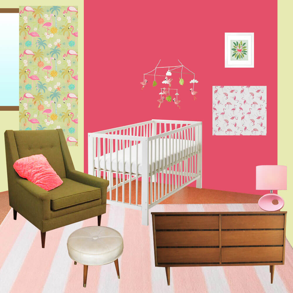 A Retro Modern Pink Flamingo Themed Nursery For Baby