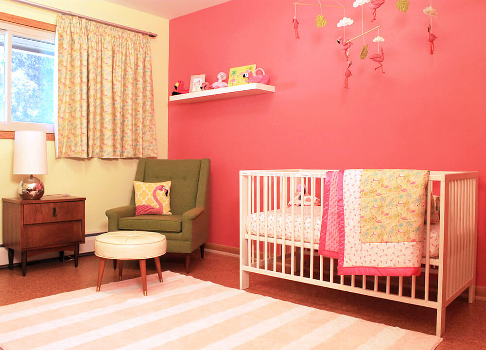 A retro modern pink flamingo themed nursery for baby for Modern nursery images