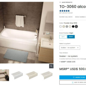 gray bath tubs from aker