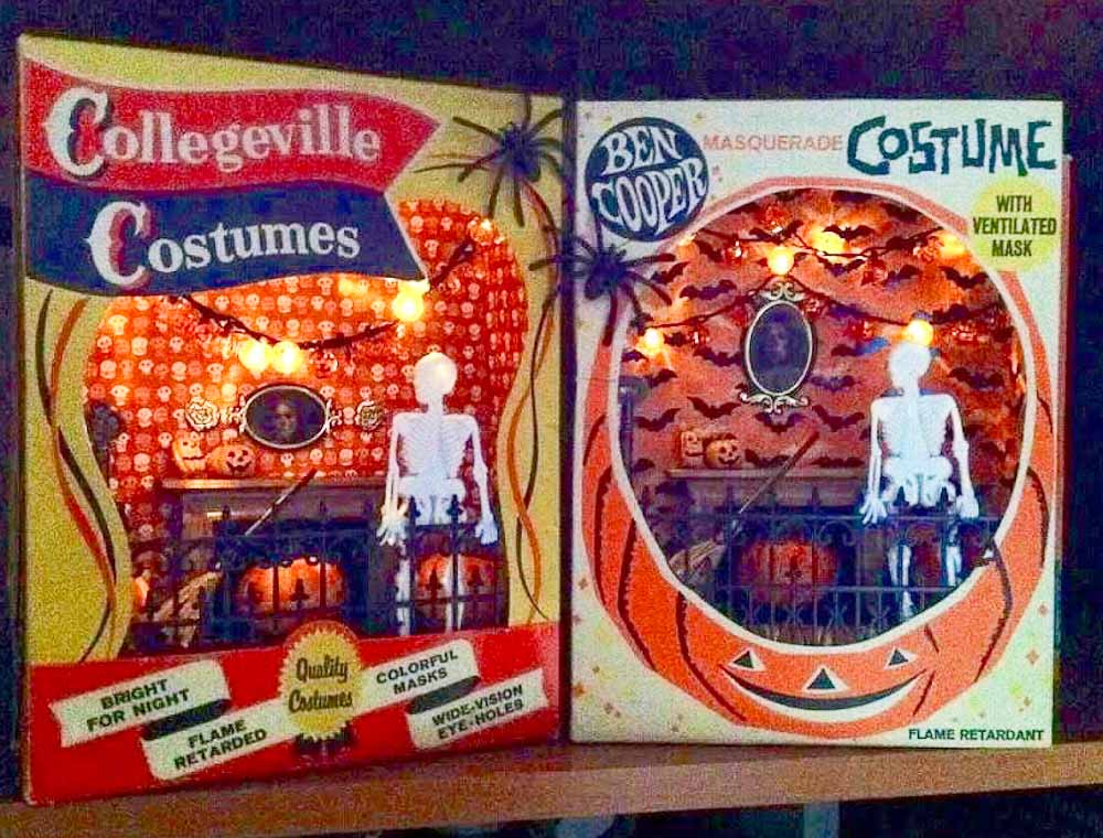 two halloween shadow boxes made from ben cooper costume boxes