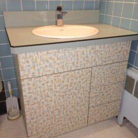 bathroom vanity covered in wilsonart betty laminate