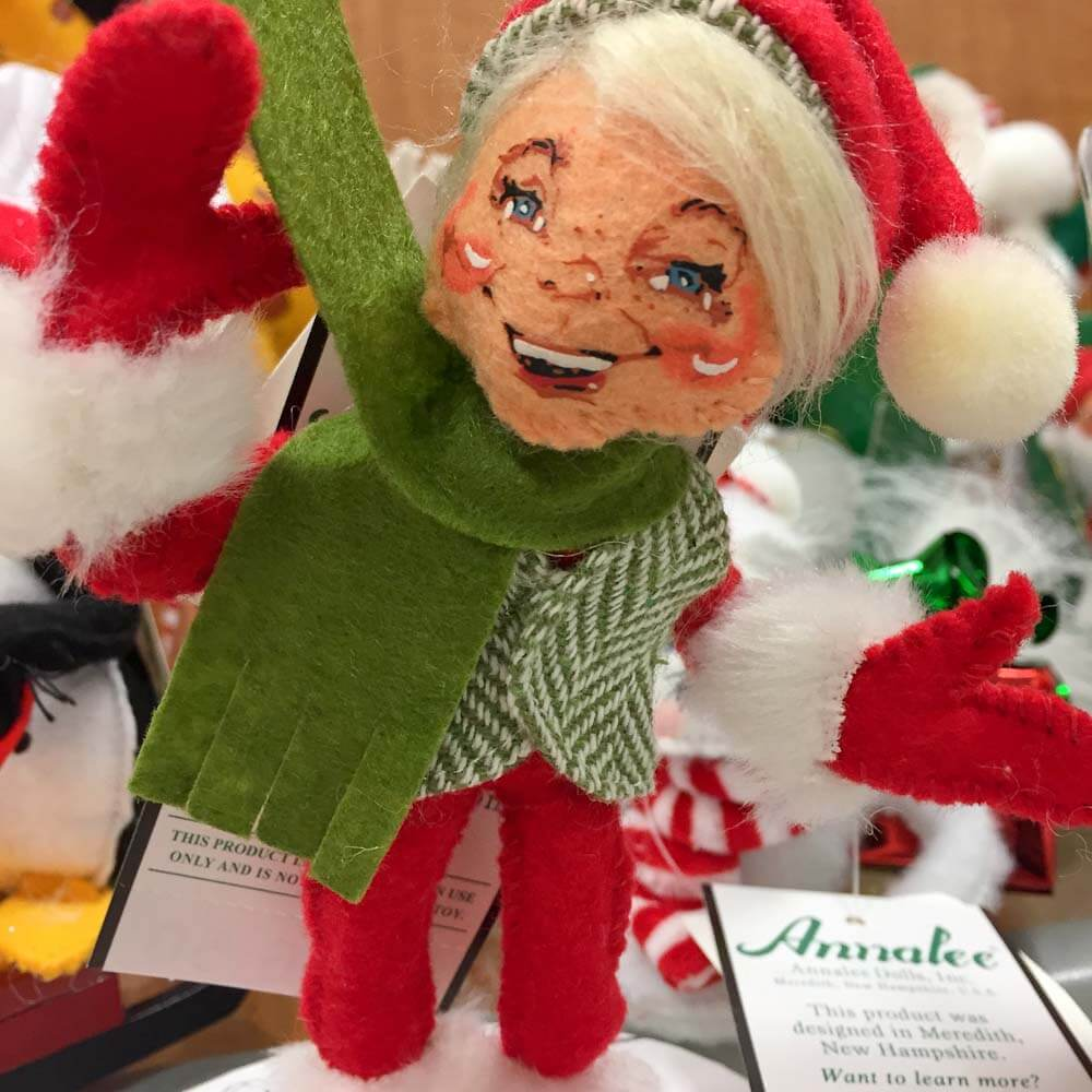 Instead of knee-hugger elves: Annalee Dolls for my Christmas ornament wreaths — from Home Goods, Marshalls and T.J. Maxx
