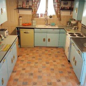 vintage english rose kitchen cabinets