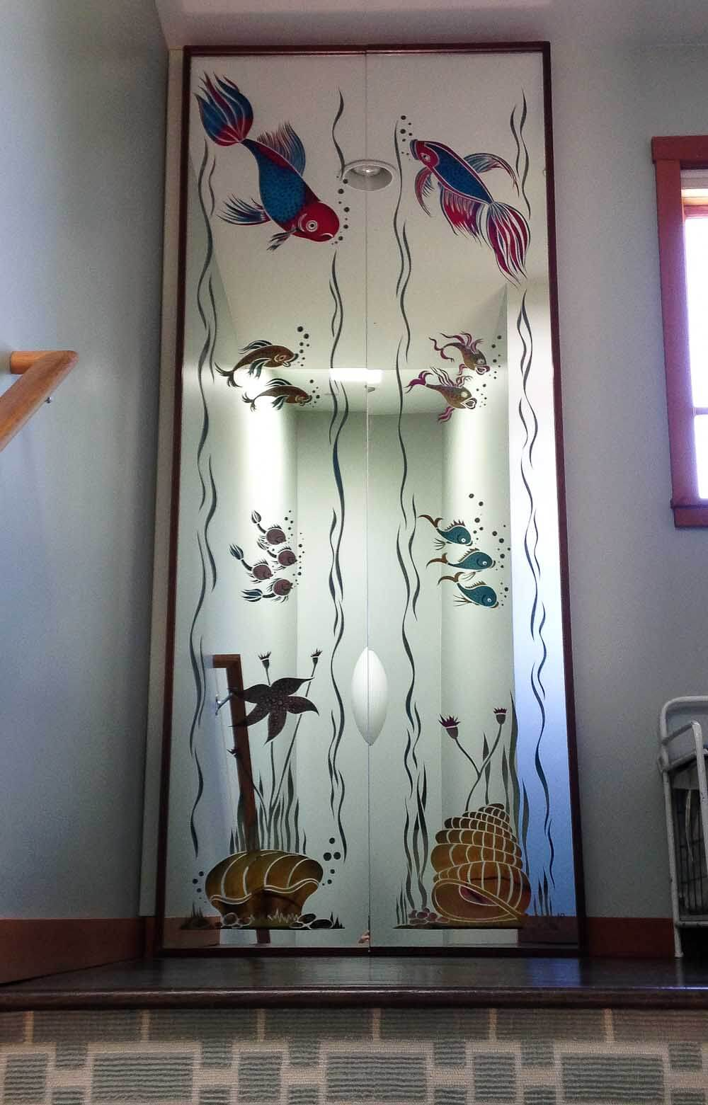 light up mirrored fish panels from world of tile