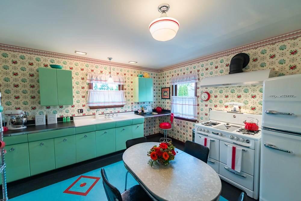 turquoise kitchen cabinets and bradbury wallpaper