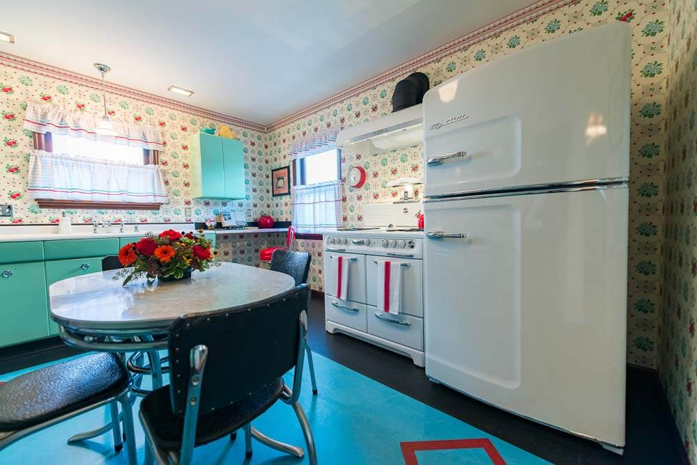 big chill refrigerator in mid century kitchen