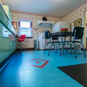 linoleum floor with inset design