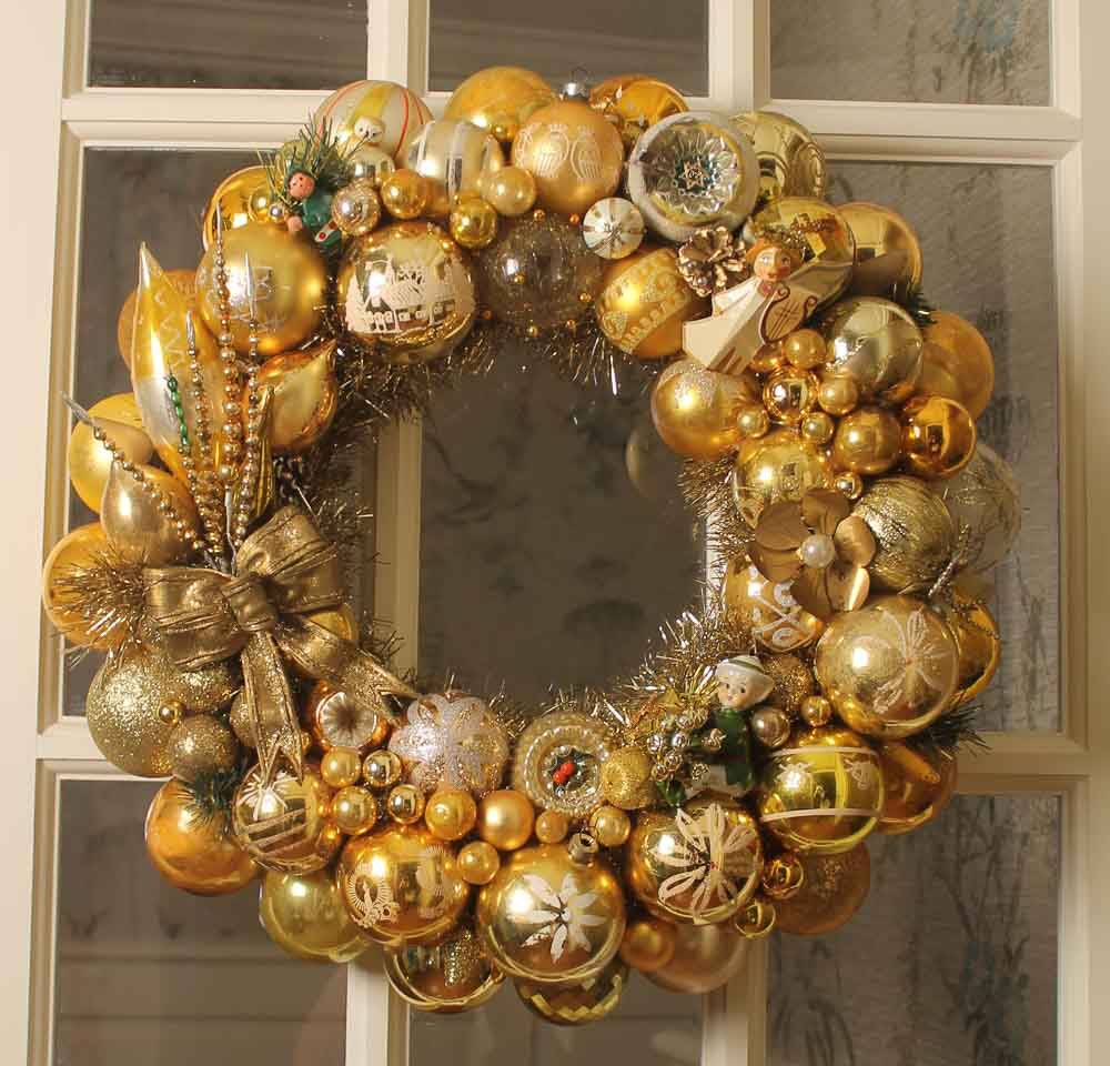 gold and silver Christmas ornament wreath