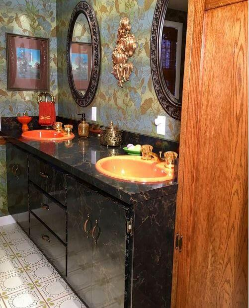 Amazing  u Kathy and Ralph us new old glam bathroom revival u featuring an Kohler Fresh Green receptor tub and World of Tile tile