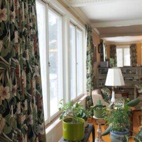 barkcloth curtains for a tiki bar
