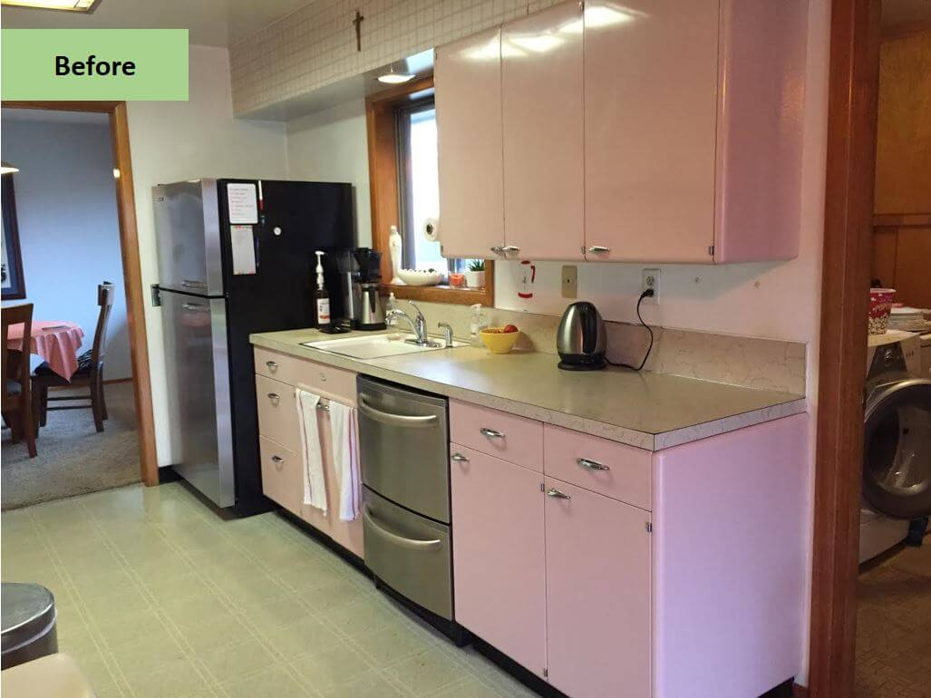 Christine Gives Her Pink 1962 Lyon Kitchen Some Retro TLC U2014 Including Retro  Renovation® By Wilsonart First Lady Pink Laminate