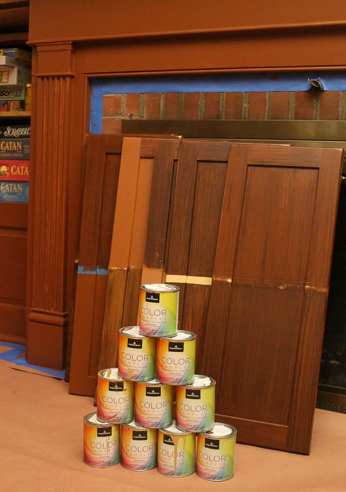 testing faux bois painting