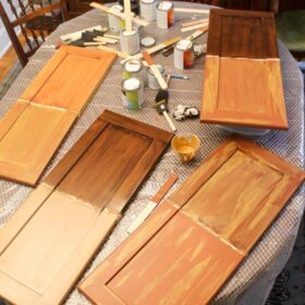 testing faux bois wood painting concepts