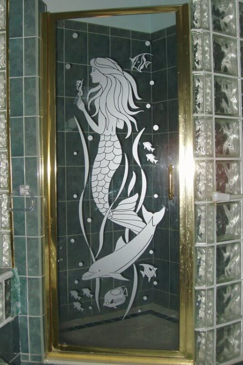 Retro Shower Decals With The Vintage Etched Glass Look