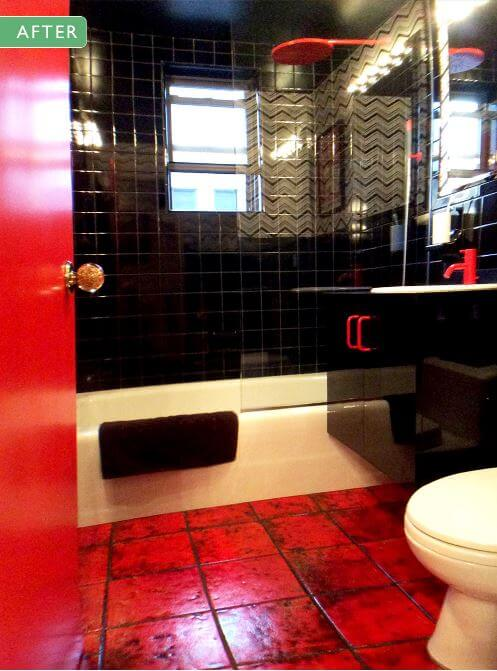 Best Above Ben Sander designed this ucstatement ud bathroom for a New York City client The vanity is a covered in a glossy laminate