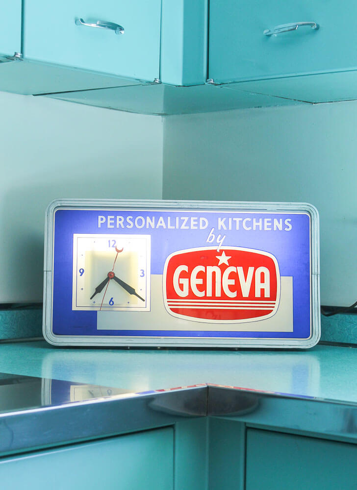 vintage clock for a geneva kitchen cabinet store