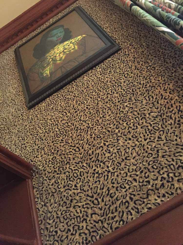 leopard print fabric on the wall