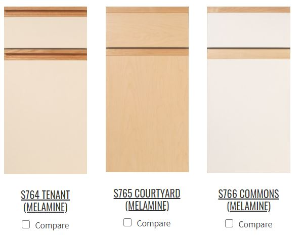 melamine kitchen cabinet doors with wood trim in three styles