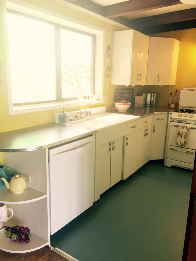 metal kitchen cabinets in a remodeled kitchen