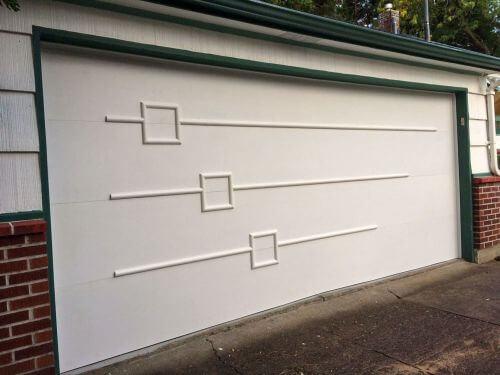 wood trim applied to garage door to add mid century modern look