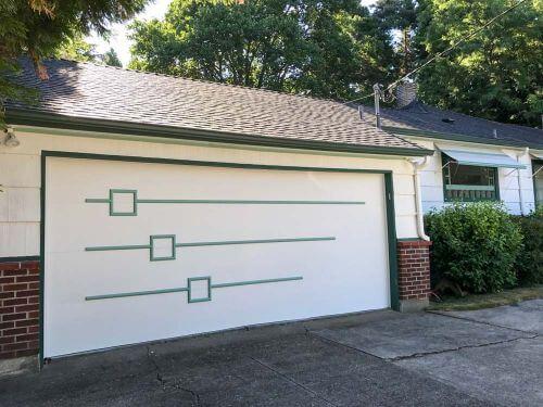 wood trim used to get the look of midcentury modern garage doors