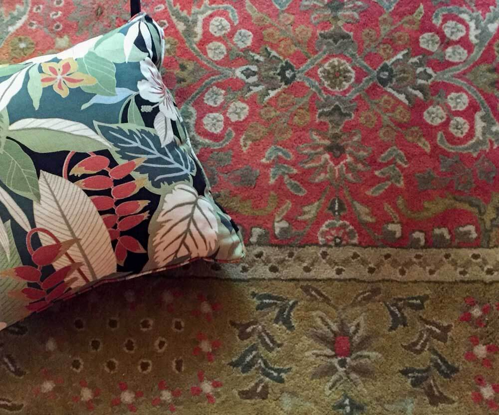 oriental rug coral color