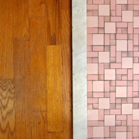 pink bathroom floor tile