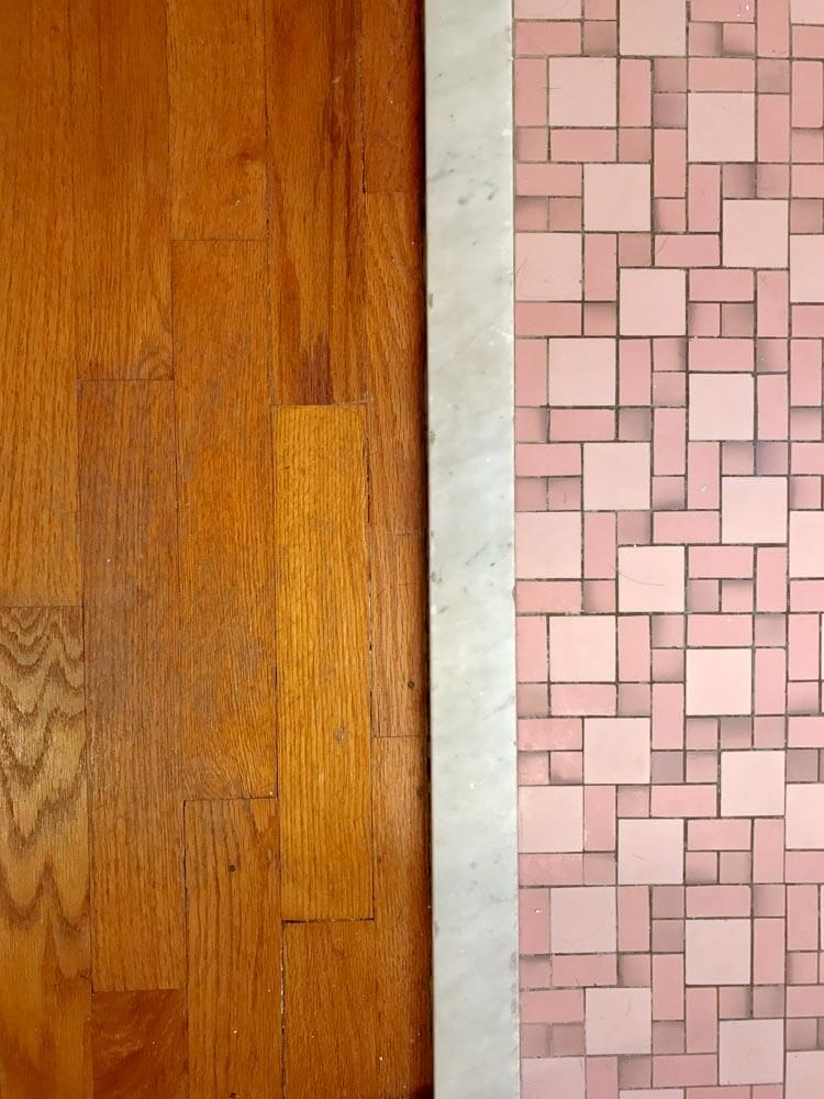 pink bathroom floor tile