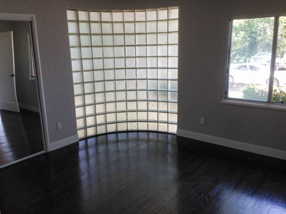 curved glass block window wall
