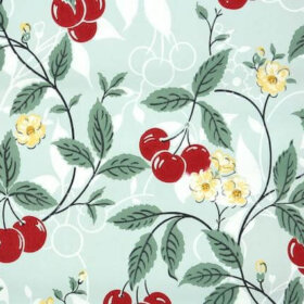 new old stock vintage wallpaper with red cherries