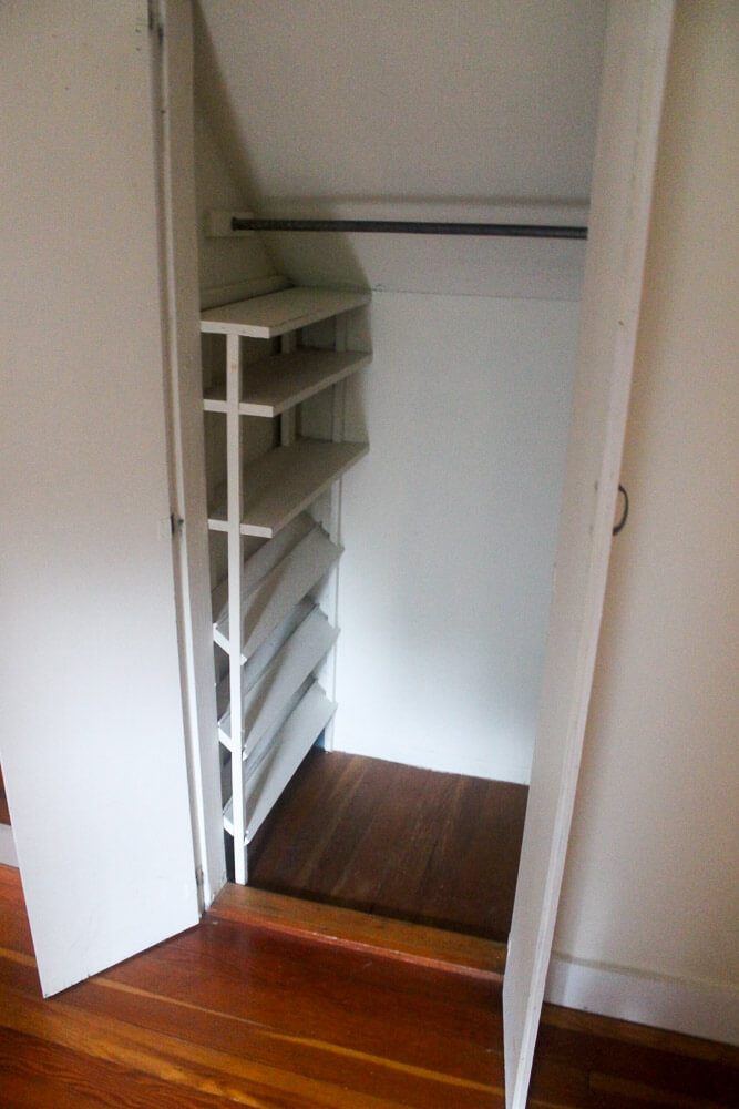 I was delighted to see this shoe rack tucked into the far edge of a small closet. & DIY shoe and sweater storage idea for small closets - Retro Renovation