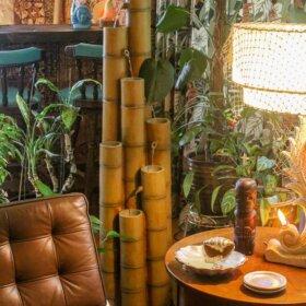 tiki bar bamboo fountain