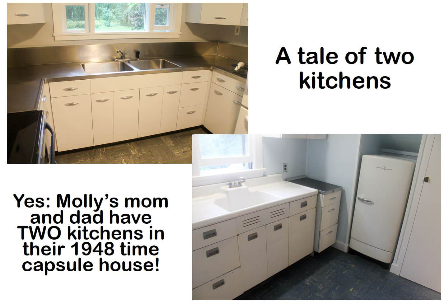 Two 1948 kitchens in Mary and Duane\'s time capsule house - Retro ...