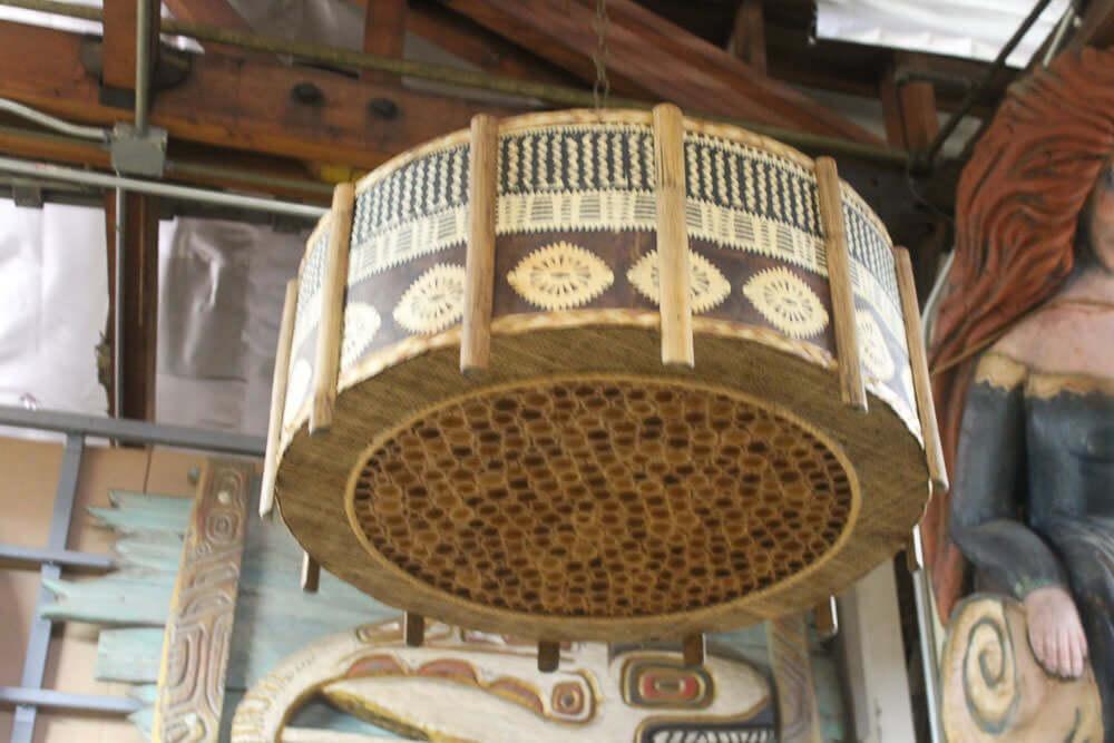 tiki bar pendant light with tapa cloth