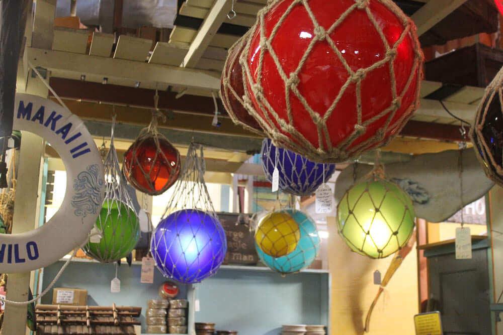 glass float lights for a home tiki bar