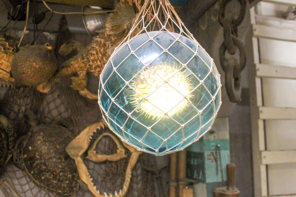 glass float lamp light with puffer fish inside
