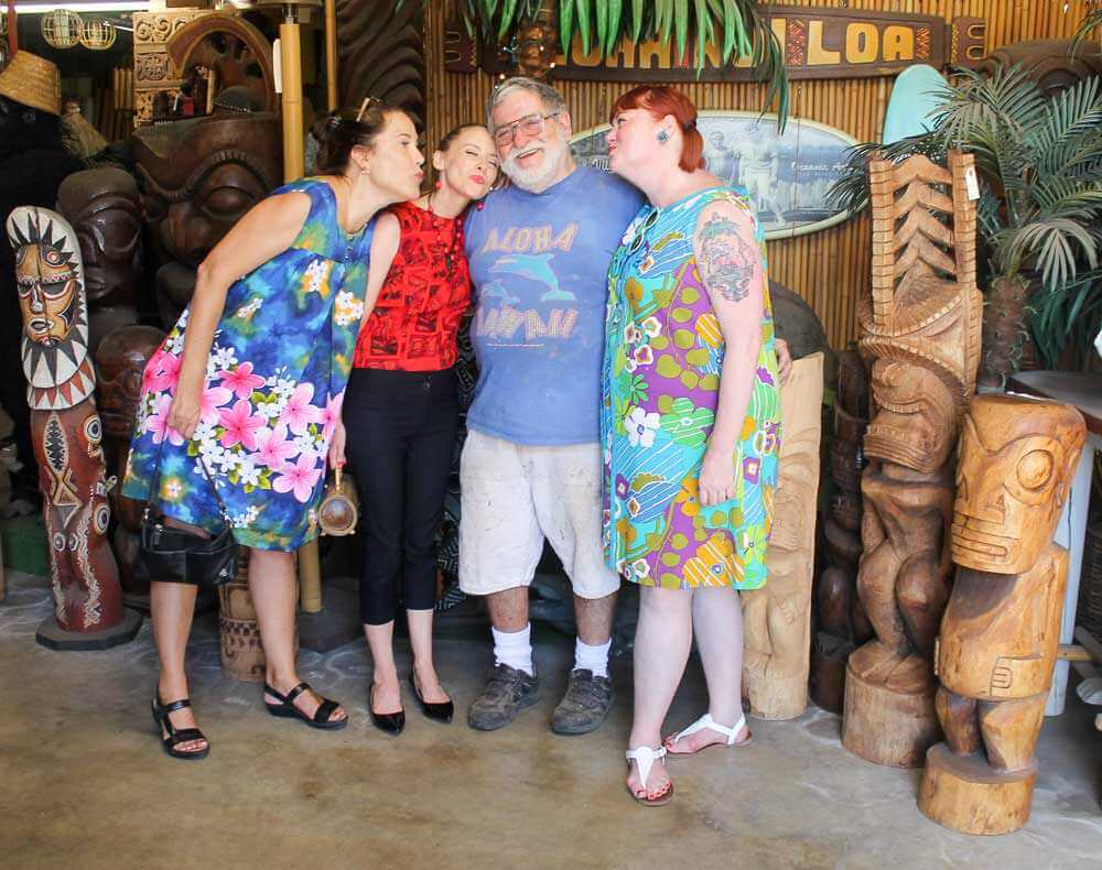 Tiki Kiliki Humuhumu and Pam with Leroy Schmaltz at Oceanic Arts